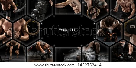 Sport collage. Muscular male athlete. Man exercising at the gym. Concept of fitness, motion, sport, bodybuilding