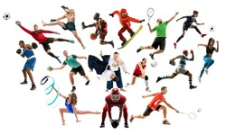 Sport collage. Tennis, running, badminton, soccer and american football, basketball, handball, volleyball, boxing, MMA fighter and rugby players. Fit women and men isolated on white background