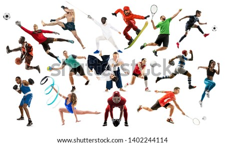 Sport collage. Tennis, running, badminton, soccer and american football, basketball, handball, volleyball, boxing, MMA fighter and rugby players. Fit women and men standing isolated on white