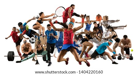 Sport collage. Tennis, soccer, taekwondo, bodybuilding, orienteering, fitness and basketball players. Fit women and men standing on white background - Image