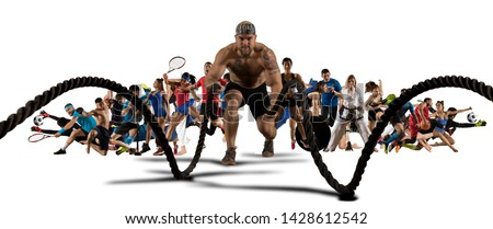 Sport collage. Tennis, soccer, taekwondo, fitness, bodybuilding, fighter and basketball players. Sporty women and men standing on white background - Image