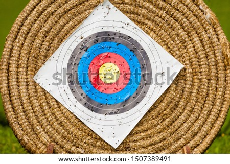 Sport competitions equipment concept. Shooting paper target and bullseye in haystack with many bullet holes #1507389491