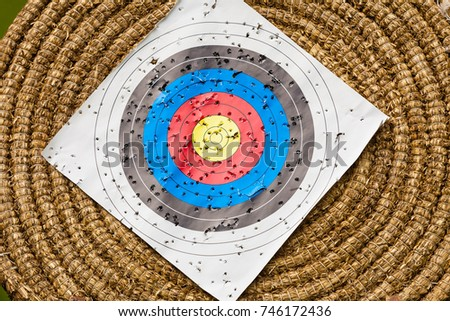 Sport competitions equipment concept. Shooting paper target and bullseye in haystack with many bullet holes #746172436