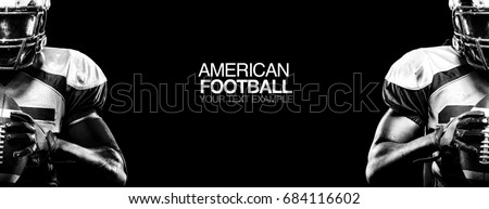 Sport concept. American football sportsman player on black background with copy space. Sport concept. #684116602
