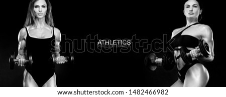 Sport concept. Black and white photo. A strong athletic, women isolated on black with dumbbells, wearing in the sportswear, fitness and sport motivation. Individual sports. Sports recreation. #1482466982