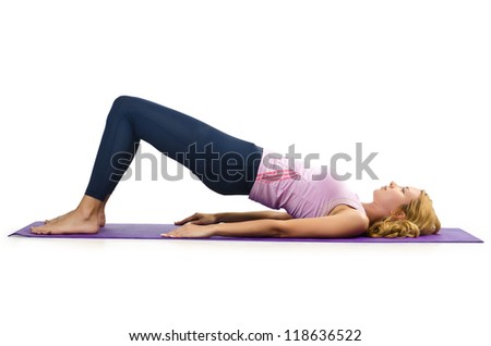 Sport concept  - Woman doing sports on white - stock photo