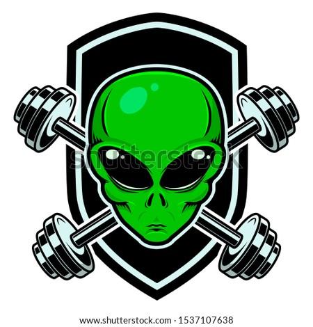Sport emblem with alien head and crossed barbells. Design element for logo, label, sign.