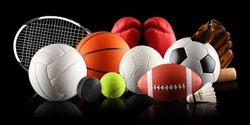 sport equipment and balls in front of black background