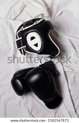 sport equipments  for boxe training,view from above
