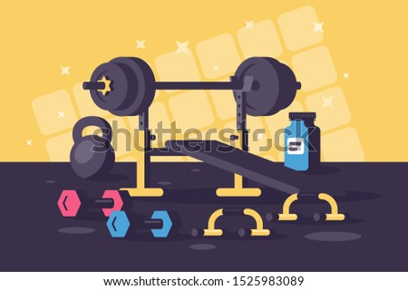 Sport equipments for heavy training sessions. Concept gym, hard work, body strengthening. illustration.