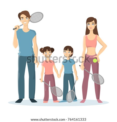 Sport family play tennis. Parents and children with tennis rockets on white background. #764161333
