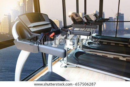 Sport Fitness And Health Care Concept Treadmills In Gym