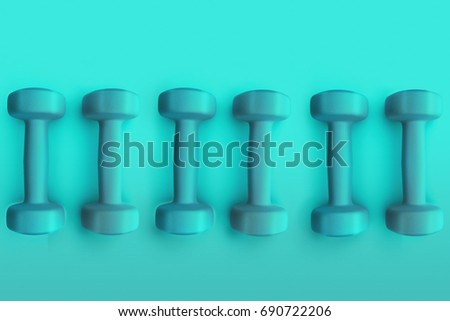 Sport, fitness dumbbells and healthy lifestyle concept image on bright colorful background. Dumbbells top wiew on rubber floor. 3D illustration.