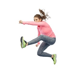 sport, fitness, motion and people concept - happy young woman jumping in air in fighting pose over white background