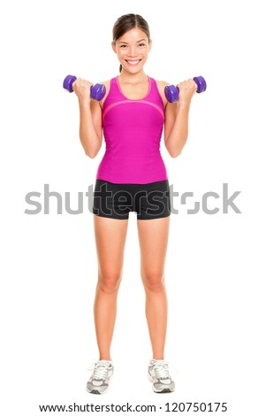 Sport fitness woman standing in full body. Fitness instructor standing holding dumbbell hand weights isolated on white background in studio. Beautiful young mixed race Asian Caucasian fitness model.