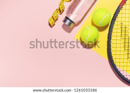 Sport flat lay background on pink. Sport healthy life concept. Horizontal with copy space.  #1261033186