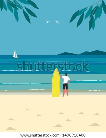 Sport fun on sea beach. Leisure activity on sand seashore. Colorful minimal style cartoon. Young man with surf. Summer vacation surfing enjoy, recreation. Flat ocean waves seascape scenic background