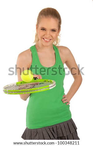Sport girl with a tennis racket on an isolated background