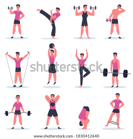 Sport guy. Young man exercising, male character barbell gym training, practice martial arts and crossfit isolated  illustration collection. Healthy athlete, sport training lifestyle active