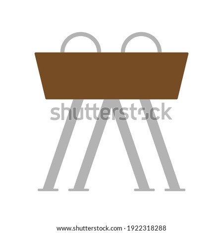 Sport gymnastic pommel horse person illustration icon. Competition strength fitness pommel horse silhouette isolated white gym. Health training muscle power and body flexibility bar equipment ストックフォト ©