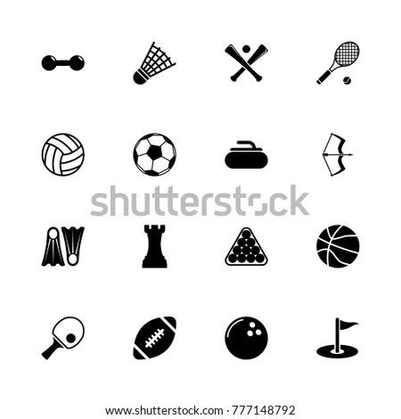 Sport icons. Flat Simple Icon - Black Illustration on White Background.