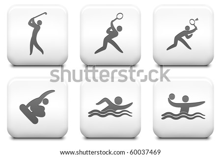 Sport Icons on Square Black and White Button Collection Original Illustration