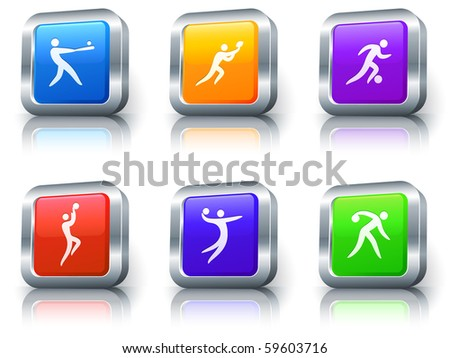 Sport Icons on Square Button with Metallic Rim Collection Original Illustration