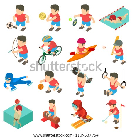 Sport icons set. Isometric illustration of 16 sport icons for web