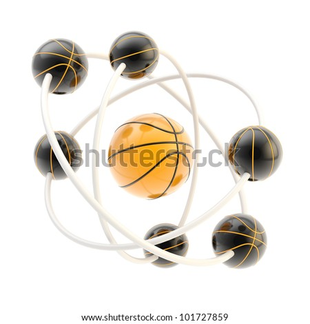 Sport is science: basketball molecule made of balls isolated on white