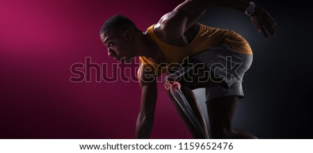 Sport. Isolated Athlete runner. Silhouette. Start
