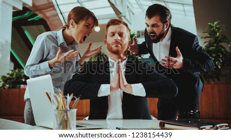Sport Lifestyle. Healthcare of Business People.Yoga Practice. Employee Practicing on Chair in Office. Worker Sit in Lotus Pose. Man is Meditating. Person Relax. Male Keeps Calm. Zen Time.
