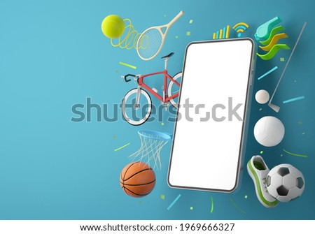 sport live online from a smartphone. sport competition program. game application. white screen mobile. sport online game. golf football volleyball tennis object. background copy space. 3d rendering.