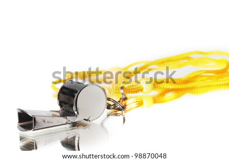 sport metal whistle on gray background