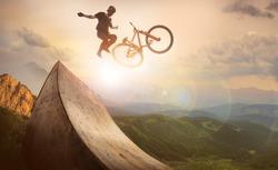 Sport. Motion biker jumps