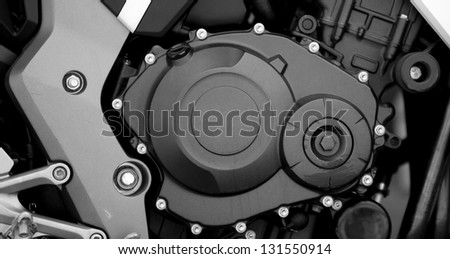 Sport motorcycle engine close-up detail background