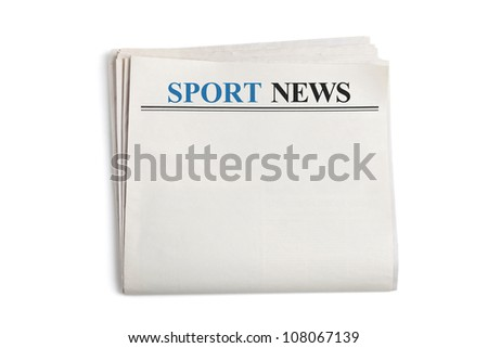 Sport News, Newspaper with white background