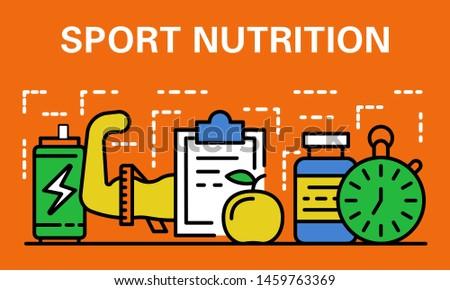 Sport nutrition banner. Outline illustration of sport nutrition banner for web design
