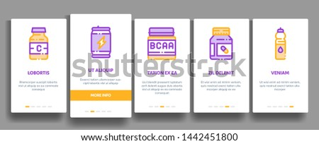 Sport Nutrition Cells Onboarding Mobile App Page Screen. Sport Nutrition for Sportsmen Linear Pictograms. Dietary Nutrition, Protein Ingredients, Wheys, Bars for Bodybuilding Illustration