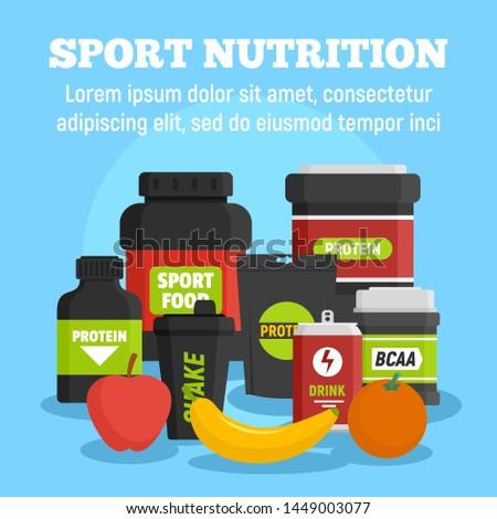 Sport nutrition concept background. Flat illustration of sport nutrition concept background for web design