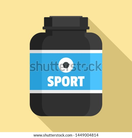 Sport nutrition plastic jar icon. Flat illustration of sport nutrition plastic jar icon for web design