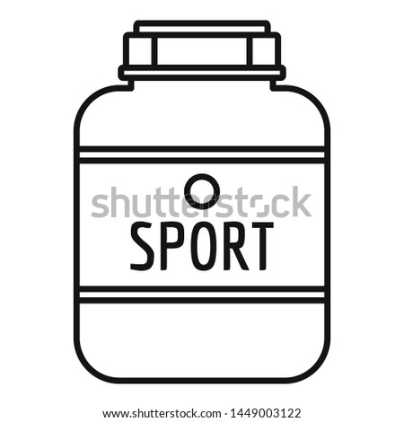 Sport nutrition plastic jar icon. Outline sport nutrition plastic jar icon for web design isolated on white background