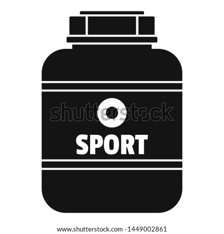 Sport nutrition plastic jar icon. Simple illustration of sport nutrition plastic jar icon for web design isolated on white background