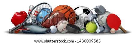 Sport objects and sports equipment with a football basketball baseball soccer tennis and golf ball and badminton hockey puck as recreation and leisure activity with 3D illustration elements.