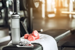 Sport oblects equipment isolated in the fitness center