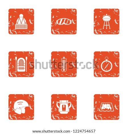Sport orientation icons set. Grunge set of 9 sport orientation icons for web isolated on white background