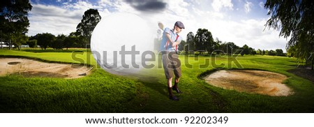 Sport Panorama Of A Vintage Golfer Hitting A Flying Golf Ball Mid Air On A Golfing Green In A Depiction Of Speed And Top Flight