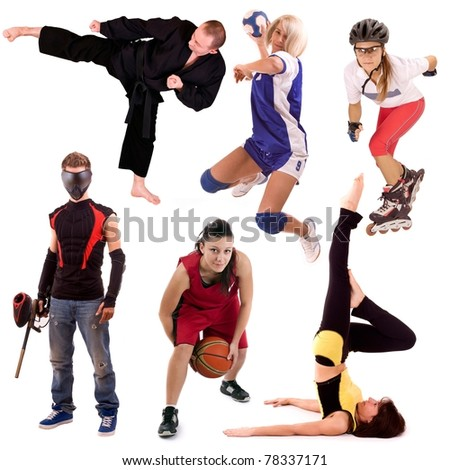 sport people collage, isolated in white background - stock photo