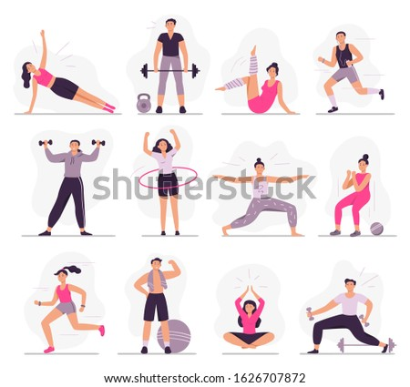 Sport people. Young athletic woman fitness activities, sports man and gym exercises. Characters gymnastics, outdoor active games and workout. Isolated  illustration icons set