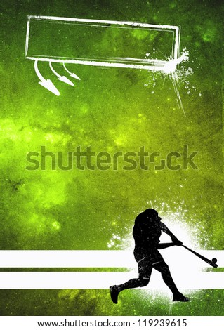 Sport poster: Baseball player grunge background with space