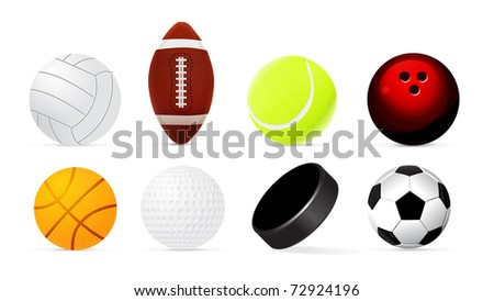 Sport realistic ball set isolated on white background.